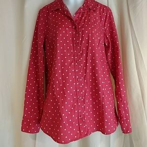 Pink and white polka dot button up shirt small